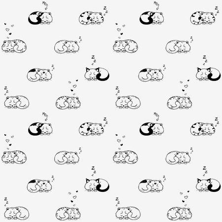 seamless pattern with cute sleeping kittens Иллюстрация