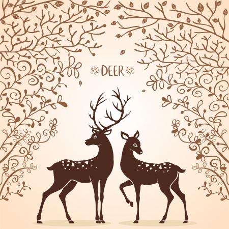geyik: iki güzel geyik illüstrasyon siluetleri