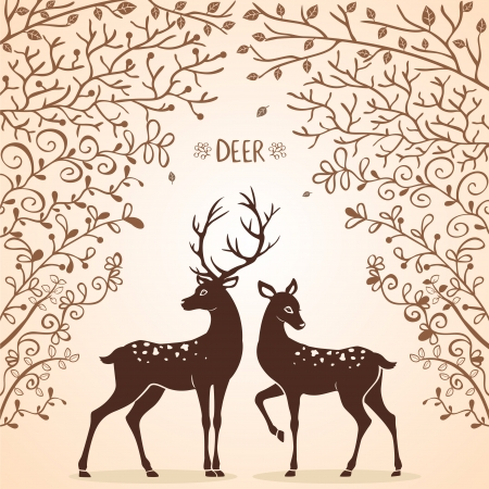 woodlands: illustration silhouettes of two beautiful deer