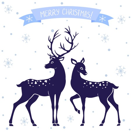 두 사슴 크리스마스의 흑백 그림의 실루엣