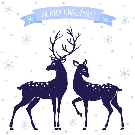 Silhouettes d'illustration en noir et blanc de deux cerfs de Noël Banque d'images - 23981548