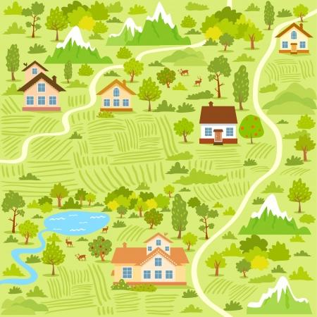 ilustración de fondo de un mapa de la aldea con casas
