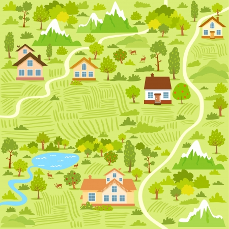 mountain meadow: ilustraci�n de fondo de un mapa de la aldea con casas