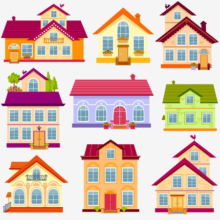 illustratie set prachtige kleurrijke huizen