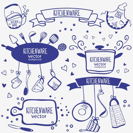 design silhouette of kitchenware doodles collection Stock Illustratie