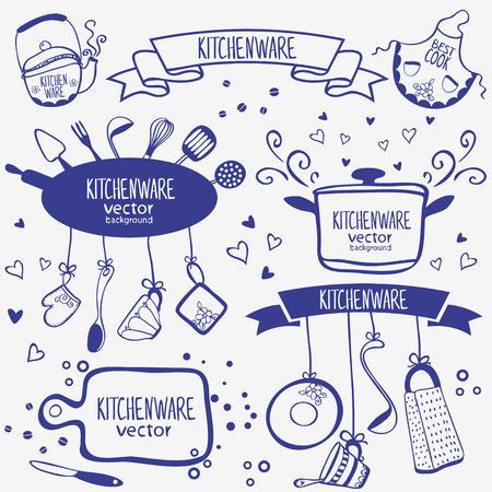 ontwerp silhouet van keukengerei doodles collectie Stock Illustratie