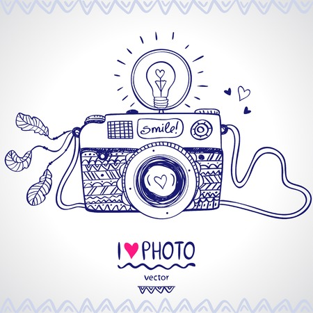 photo camera: illustration sketch vintage retro photo camera