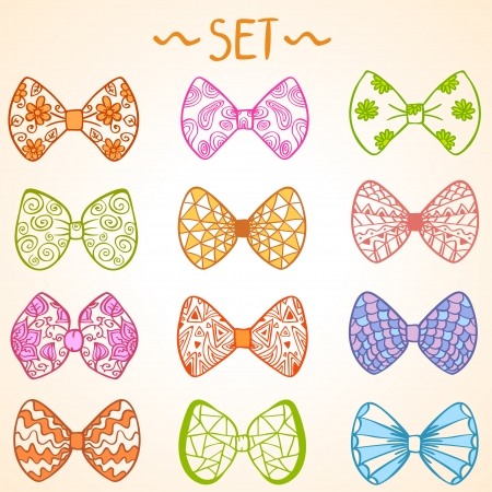 illustration set of colorful bow tie in different colors illustration
