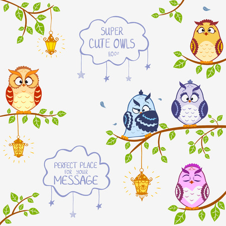 owl cute: illustration of funny owls sitting on a branch