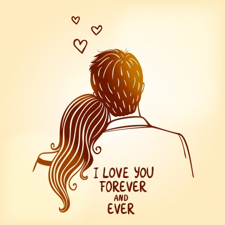 love card: silueta ilustraci�n del doodle del amor de pareja Vectores