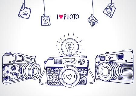 イラスト スケッチ ビンテージ レトロな写真カメラ  イラスト・ベクター素材