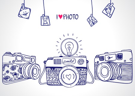 illustratie schets vintage retro fotocamera