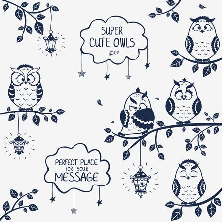 illustration silhouette of funny owls sitting on a branch Иллюстрация
