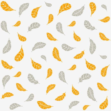 silhouette seamless pattern gold and silver feathers