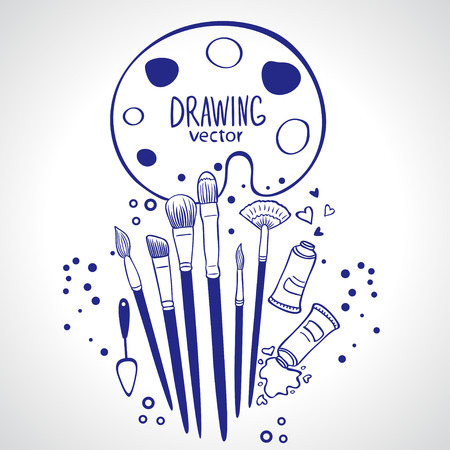 illustration design silhouette of brush collection Vector