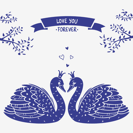 illustration card with beautiful swans silhouette Vector