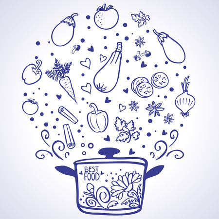 silhouette doodles of delicious vegetables Stock Illustratie