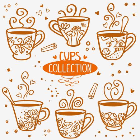 silhouette set of beautiful mugs Vector