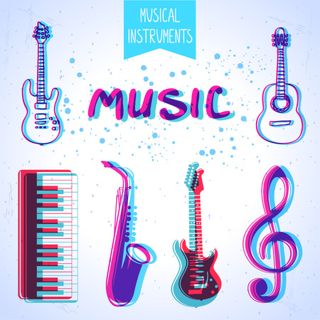 Icons of musical instruments with stylized effect 3d Vector
