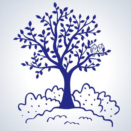 illustratie van silhouet mooie en eenvoudige boom