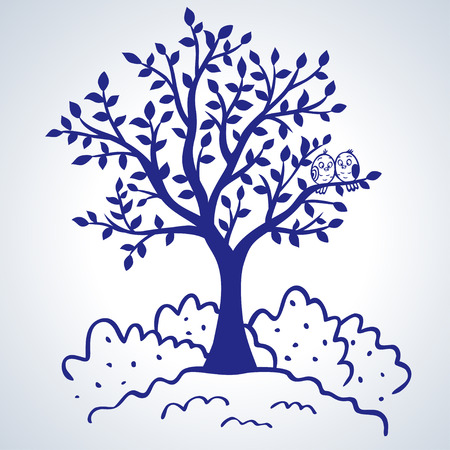 ¡rboles con pajaros: ilustración de la silueta del árbol hermoso y simple