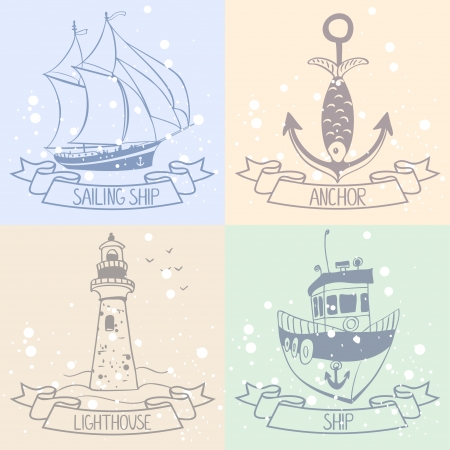 Sea set of doodle nautical design elements Vector