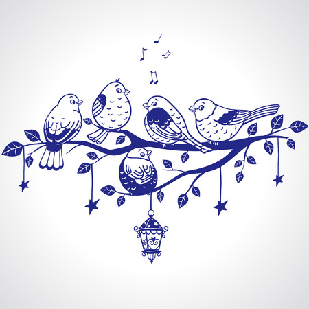 illustration of five silhouette funny sparrows sitting on a branch