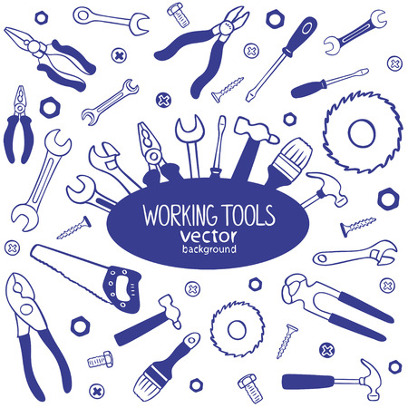 silhouette of working tools doodles collection Иллюстрация