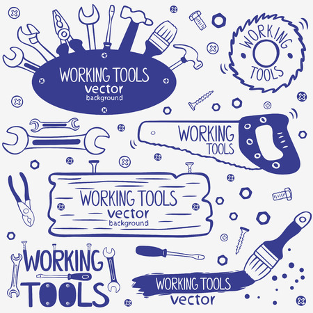 silhouette of working tools doodles collection Illustration