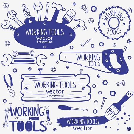 materiales de construccion: silueta de las herramientas de trabajo garabatos colección Vectores