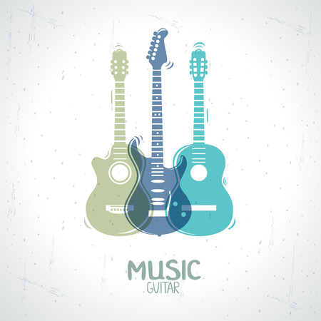 illustration with an silhouette three guitar Vector