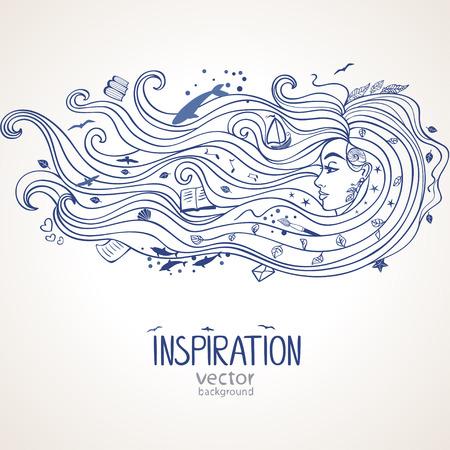 Conceptuele afbeelding met inspiratie meisje met lange golf haar Stock Illustratie