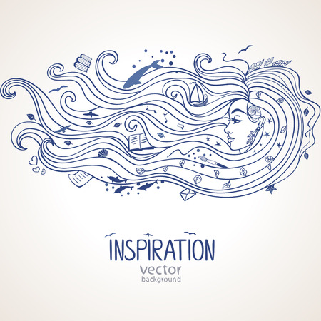 Conceptual illustration with inspiration girl with long wave hair