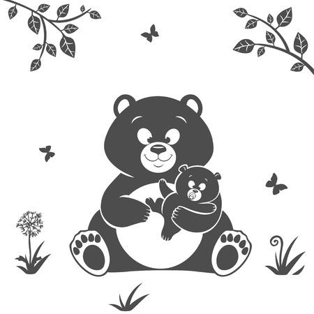 baby bear: Silhouette cute cartoon bear and baby bear