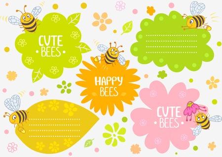 illustration cute cartoon bees, set frame Vector