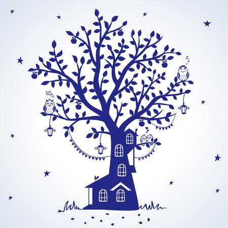 silhouet sprookjesachtige boom met huis met grappige vogels Stock Illustratie