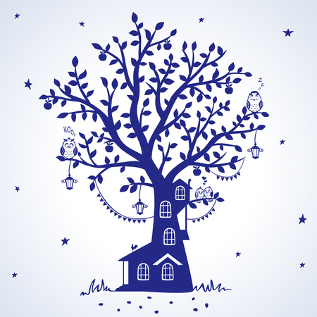 silhouette fairytale tree with house with funny birds