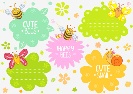 illustration cute cartoon insects, set frame Vector
