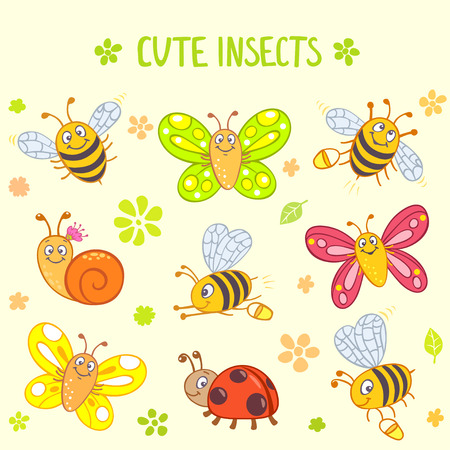 Set of funny and cute cartoon insects Vector