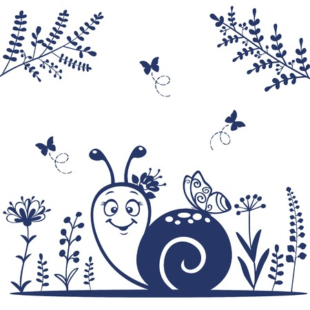 clam gardens: Silhouette cute and funny cartoon snail Illustration
