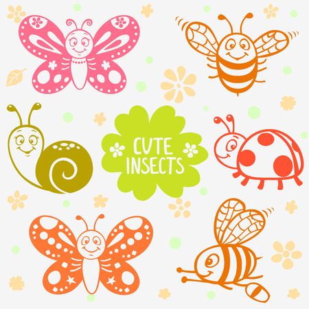 silhouette set of funny and cute cartoon insects Vector