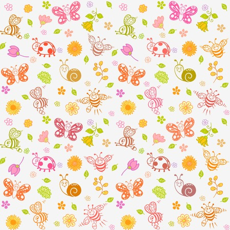 childrens seamless wallpaper with cute and positive insects Vector