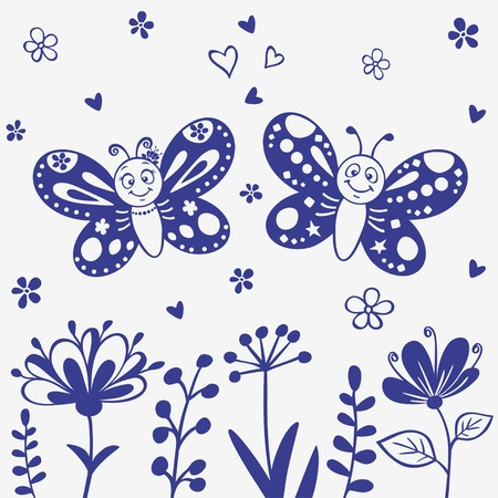 simple flower: Silhouette cute and beautiful cartoon two butterflies Illustration