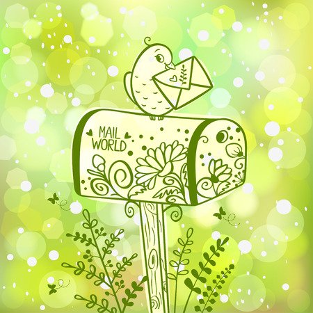 illustration silhouette of mailbox with bird which holding a letter on green bokeh background Vector