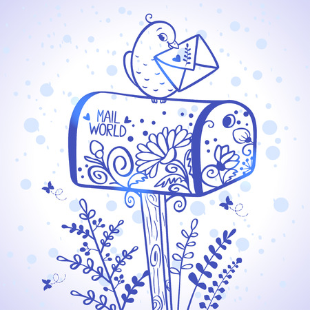 illustration silhouette of mailbox with bird which holding a letter Vector