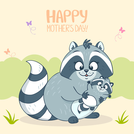 illustration cute cartoon raccoon and her child Vector