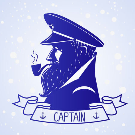 illustration silhouette portrait character of the ships captain Vector