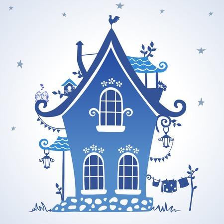 illustration silhouette creative fairytale hut