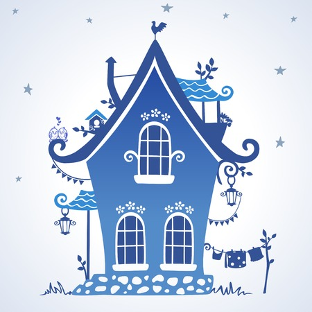 illustratie silhouet creatieve sprookjesachtige hut Stock Illustratie