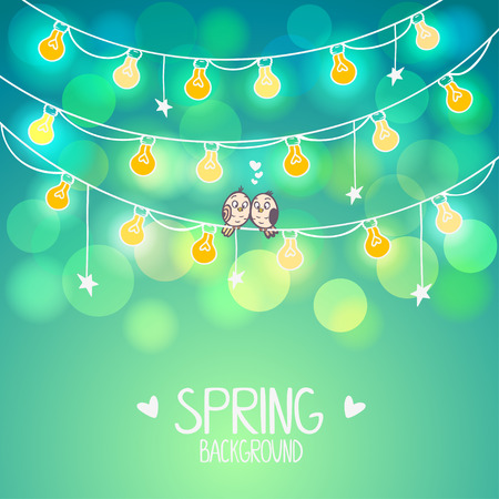 illustration background light bulbs with cute birds sitting on a wire Vector